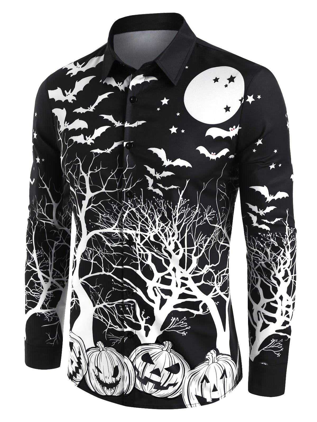 Halloween Pumpkin Bat Print Button Up Long Sleeve Shirt - BLACK M