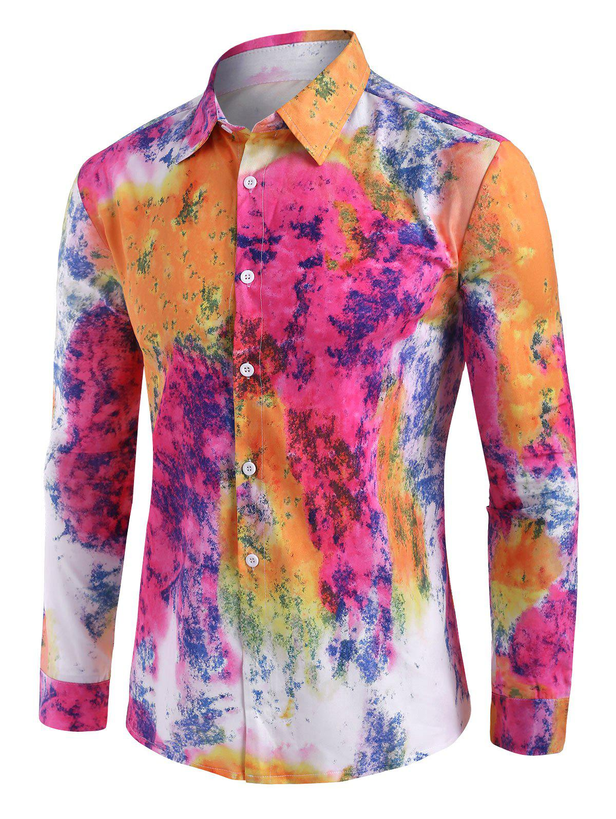 Tie Dye Button Up Long Sleeve Shirt - multicolor XL