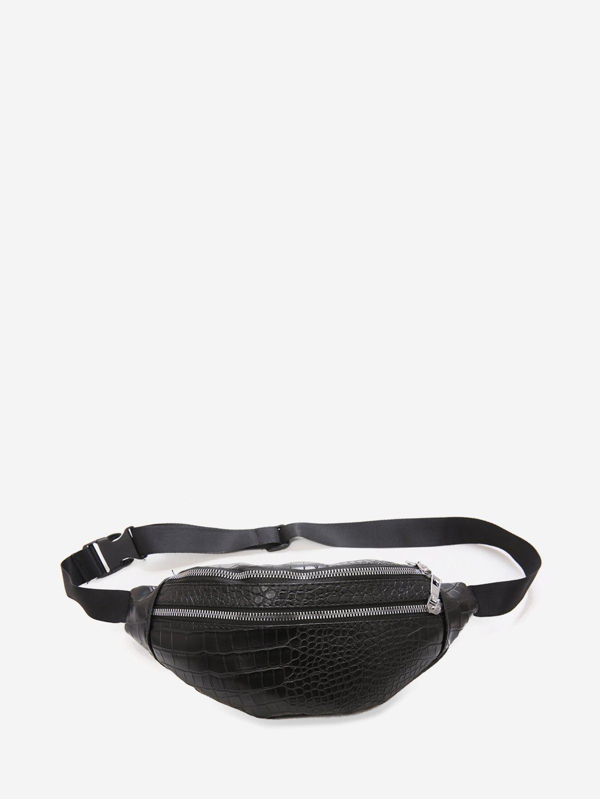 Animal Embossed Leather Chest Bag - BLACK