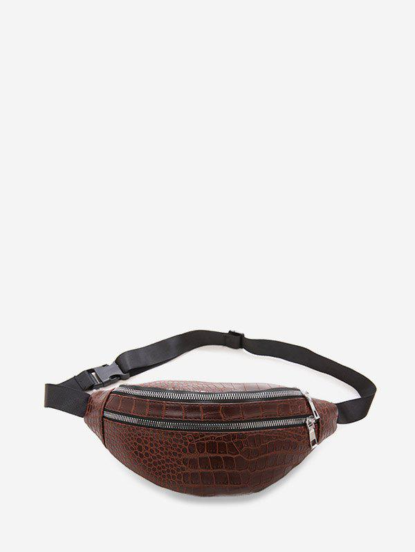 Animal Embossed Leather Chest Bag - DEEP COFFEE