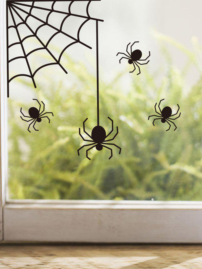 Halloween Spider And Spider Web Print Removable Wall Stickers - BLACK 26.5X28.5CM