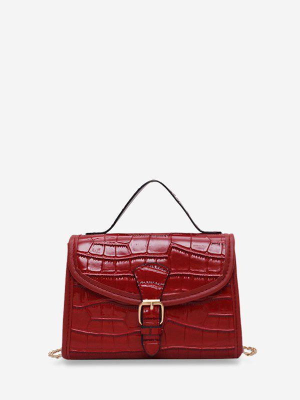 Animal Embossed Buckled Chain Crossbody Bag - DEEP RED