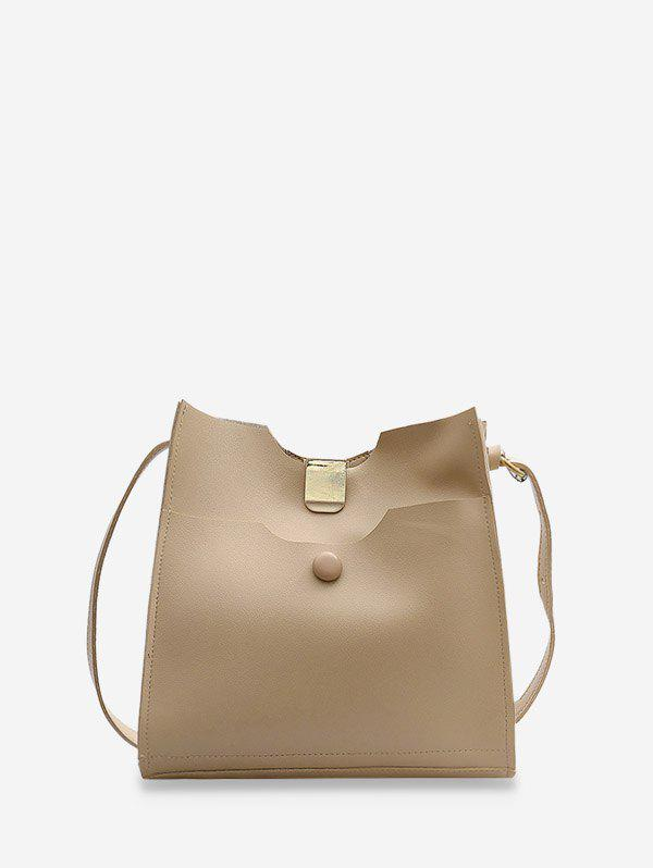 Pure Color Leather Sling Bucket Bag - LIGHT COFFEE