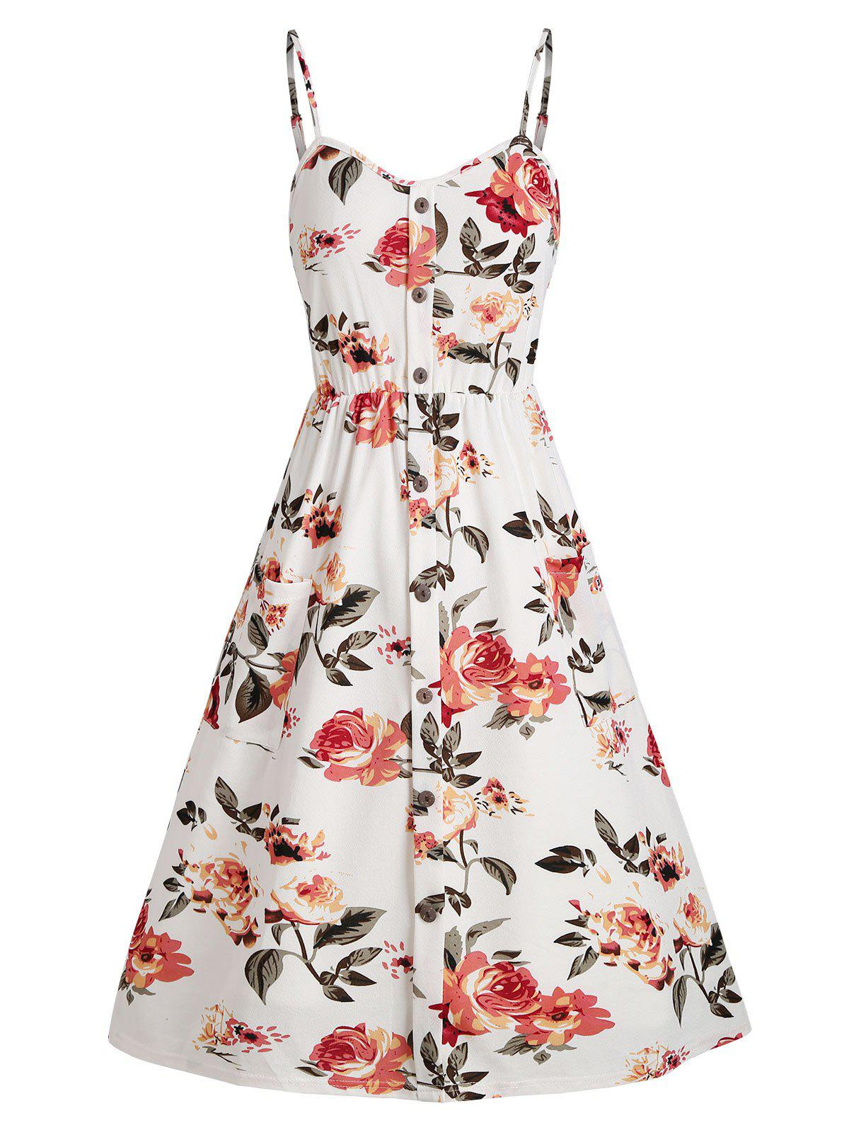 Floral Shirred Back Mock Buttons Sundress - WHITE XL