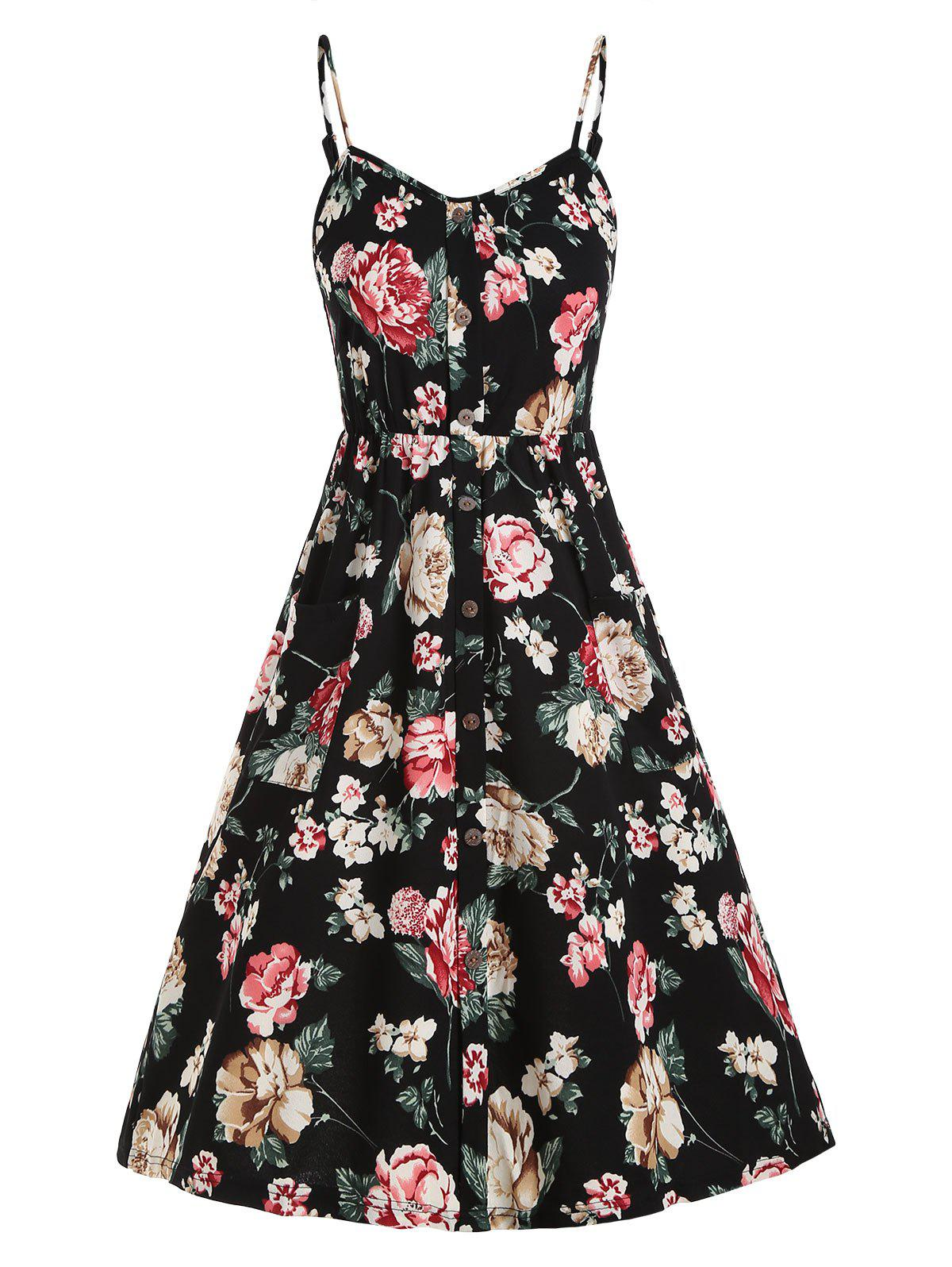 Floral Shirred Back Mock Buttons Sundress - BLACK L