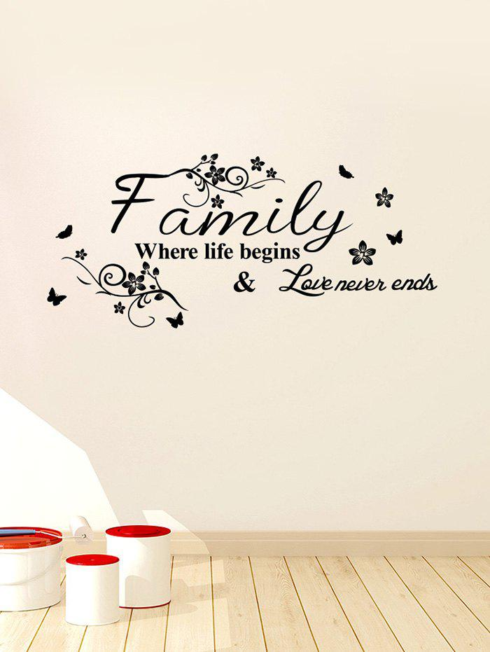 Letter Floral Print Removable Living Room Wall Stickers - BLACK 60X30CM