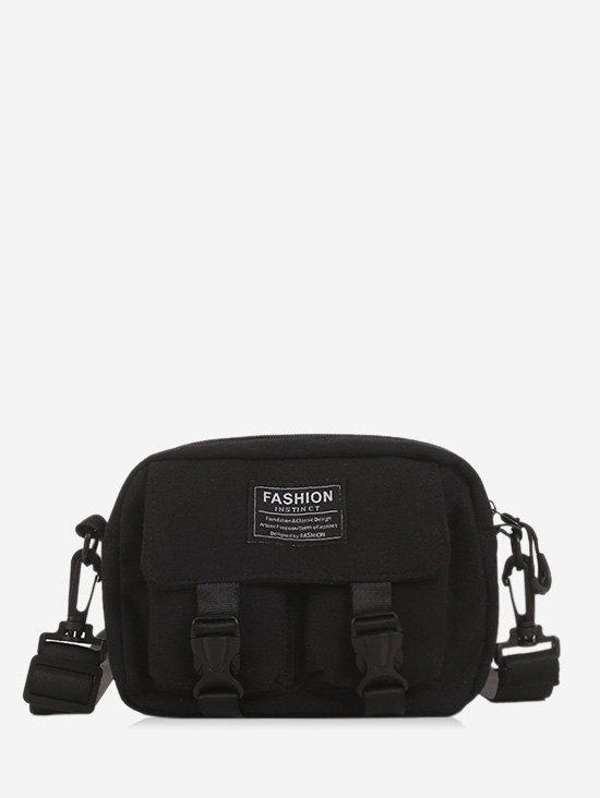 Multi-pockets Canvas Mini Crossbody Bag - BLACK