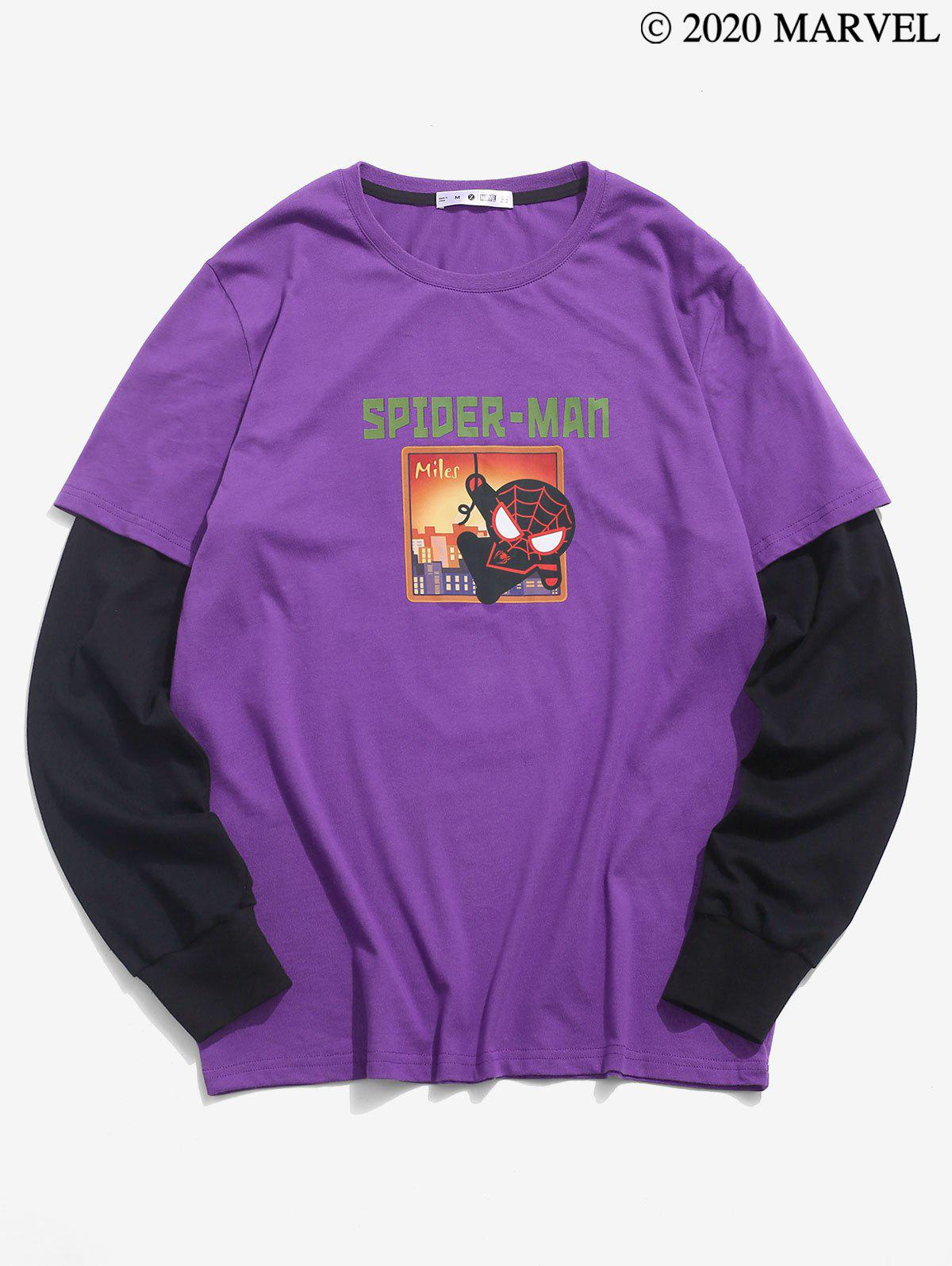 Marvel Spider-Man Graphic Doctor Sleeve T-shirt - DARK ORCHID S