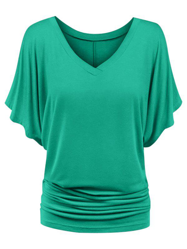 V Neck Ruched Plus Size Batwing Sleeve Top - GREEN 2X