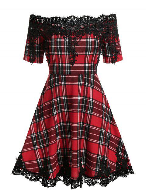 Off Shoulder Checked Lace Insert Mini A Line Dress