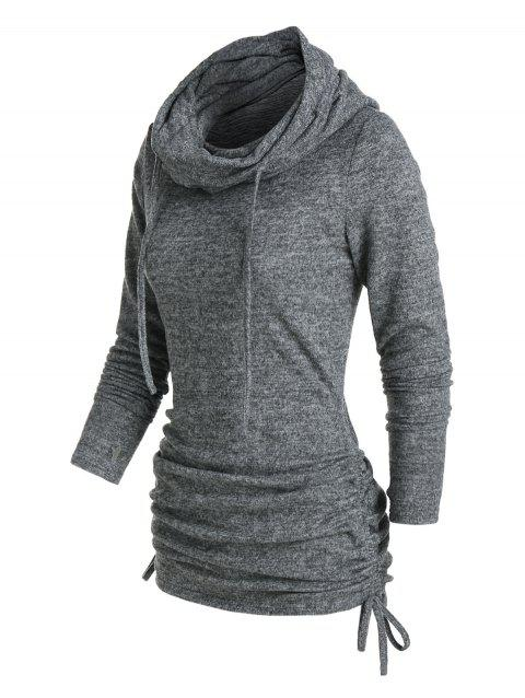 Cowl Neck Cinched Hem Knitted Drawstring Sweatshirt