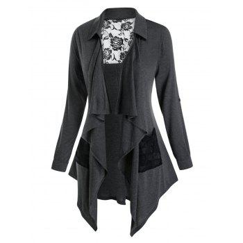Plus Size Lace Insert Draped Front Roll Up Sleeve Cardigan