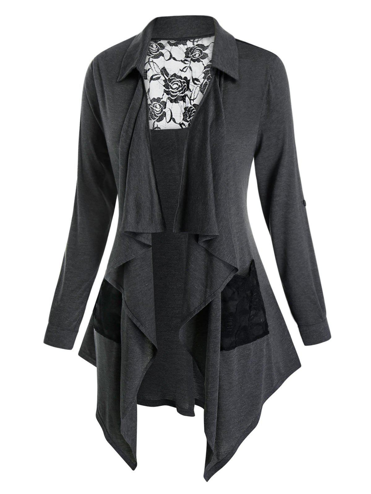 Plus Size Lace Insert Draped Front Roll Up Sleeve Cardigan - CARBON GRAY 2X