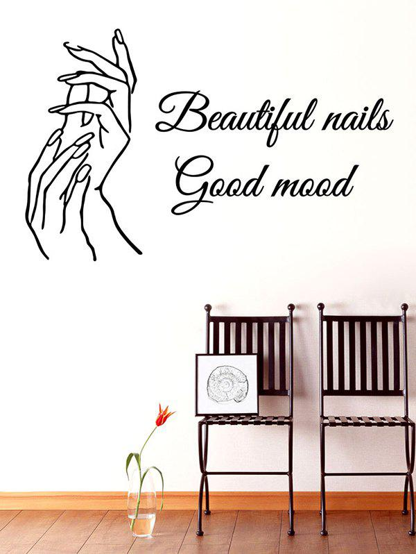 Beautiful Nails Good Mood Pattern Wall Sticker - BLACK 57X36 CM