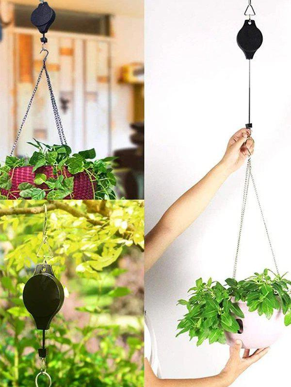 Gardening Easy Reach Retractable Hook For Hanging Flower Pot - BLACK