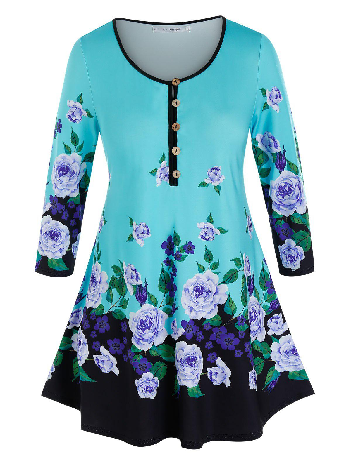Plus Size Flower Print Piping Buttoned Tunic Tee - multicolor 5X
