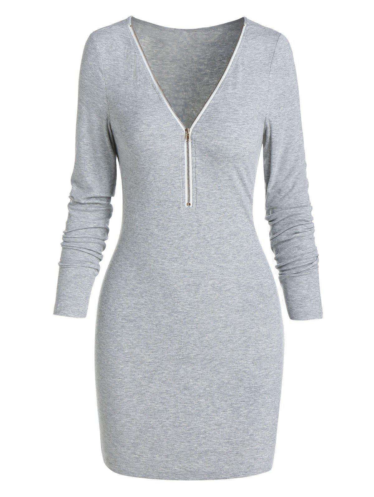 Plain V Neck Knitted Mini Bodycon Dress - LIGHT GRAY 2XL