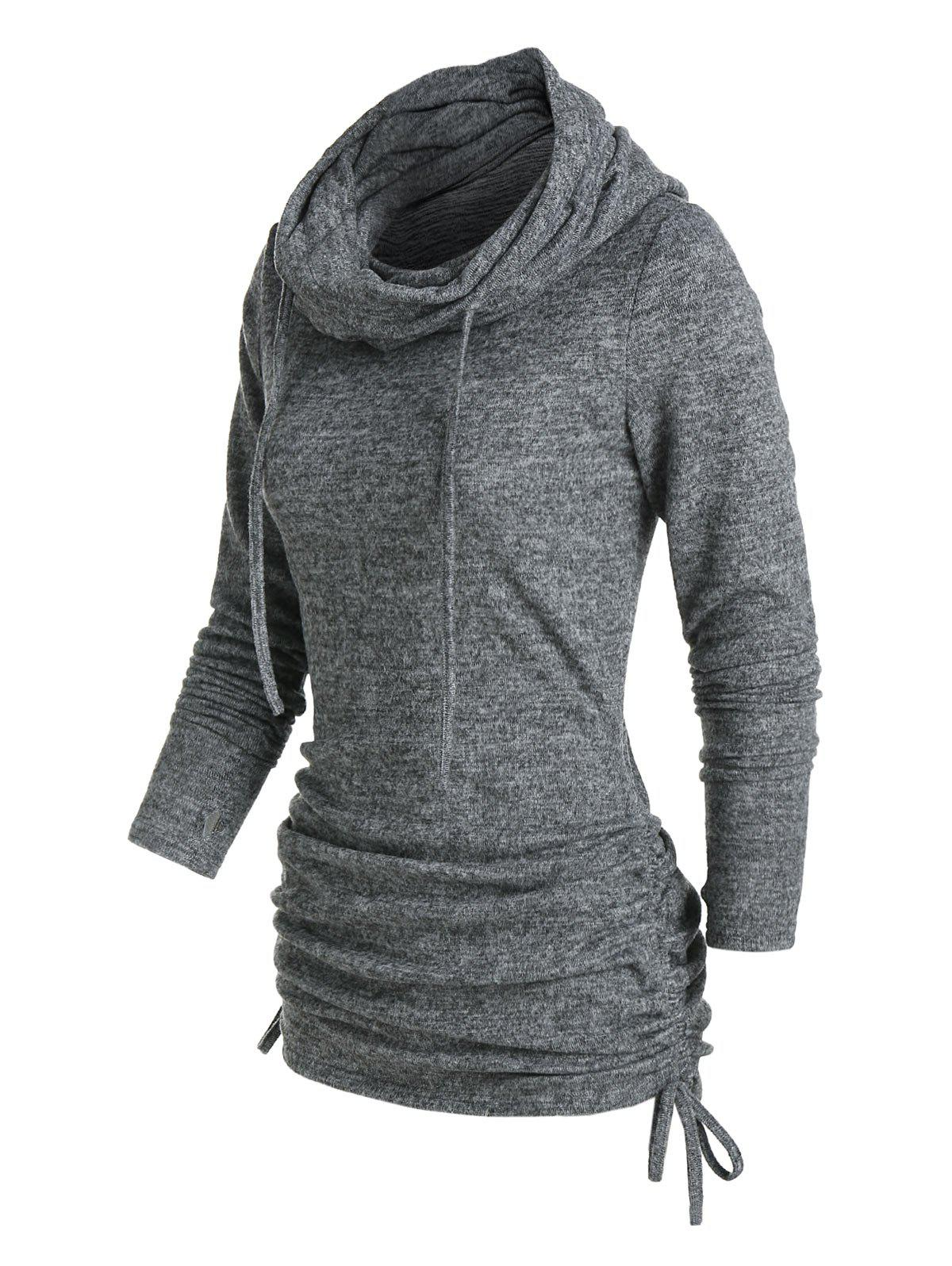 Cowl Neck Cinched Hem Knitted Drawstring Sweatshirt - ASH GRAY M