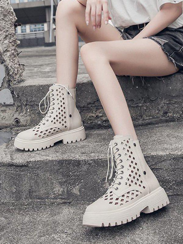 Hollow Out Leather Cargo Ankle Boots - BEIGE EU 39