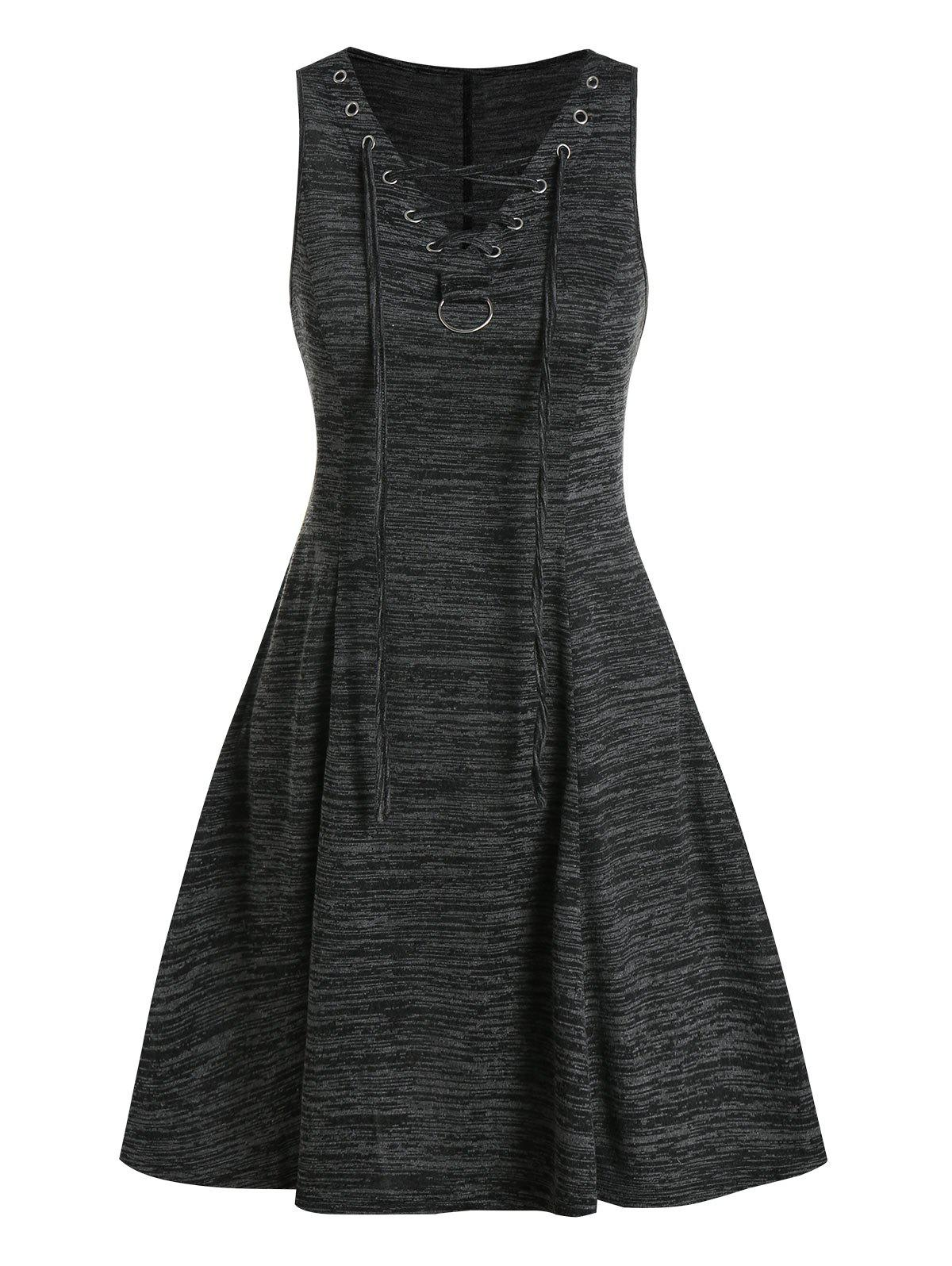 Lace Up Space Dye Fit And Flare Dress - BLACK 3XL