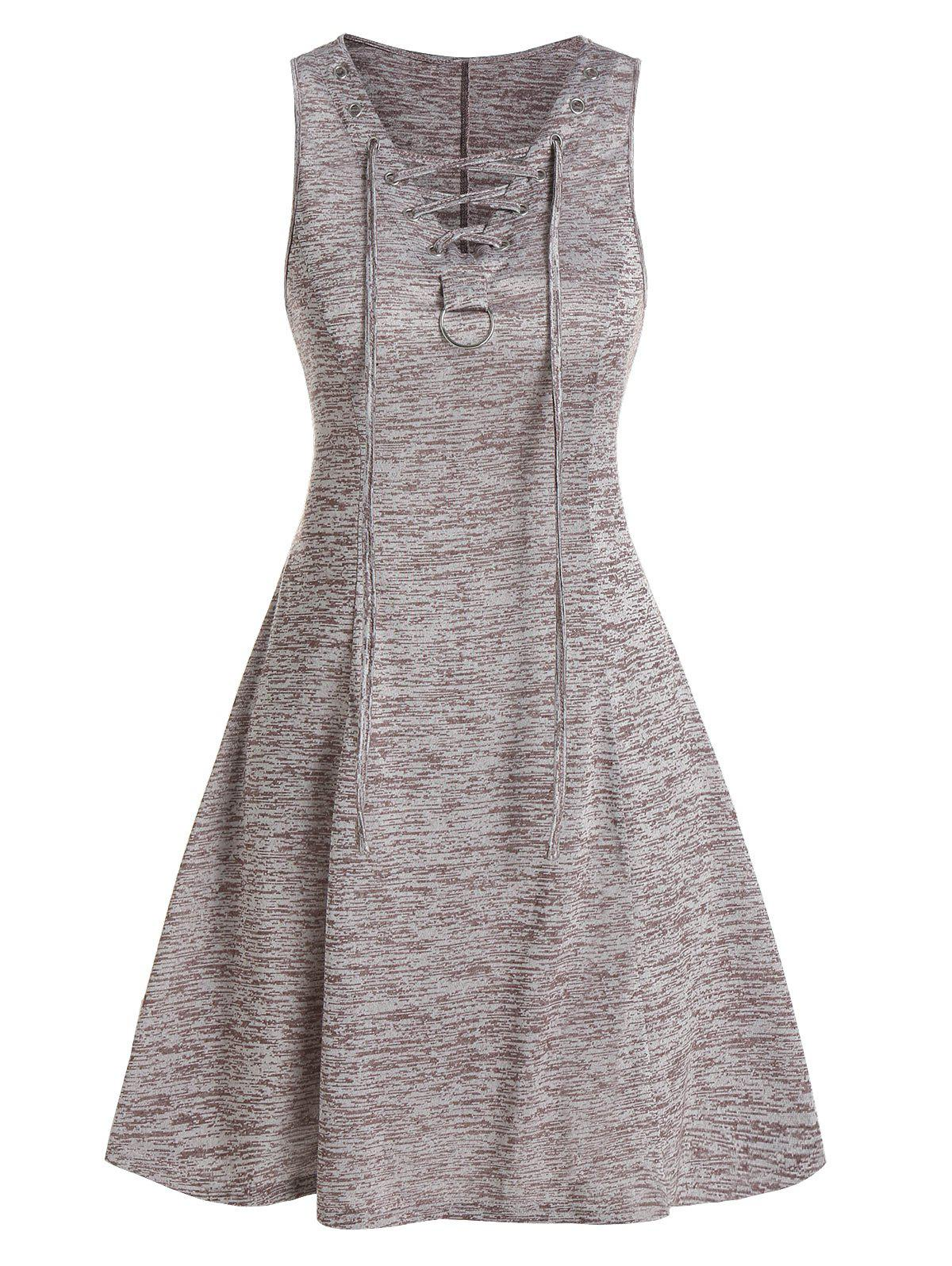 Lace Up Space Dye Fit And Flare Dress - COFFEE L