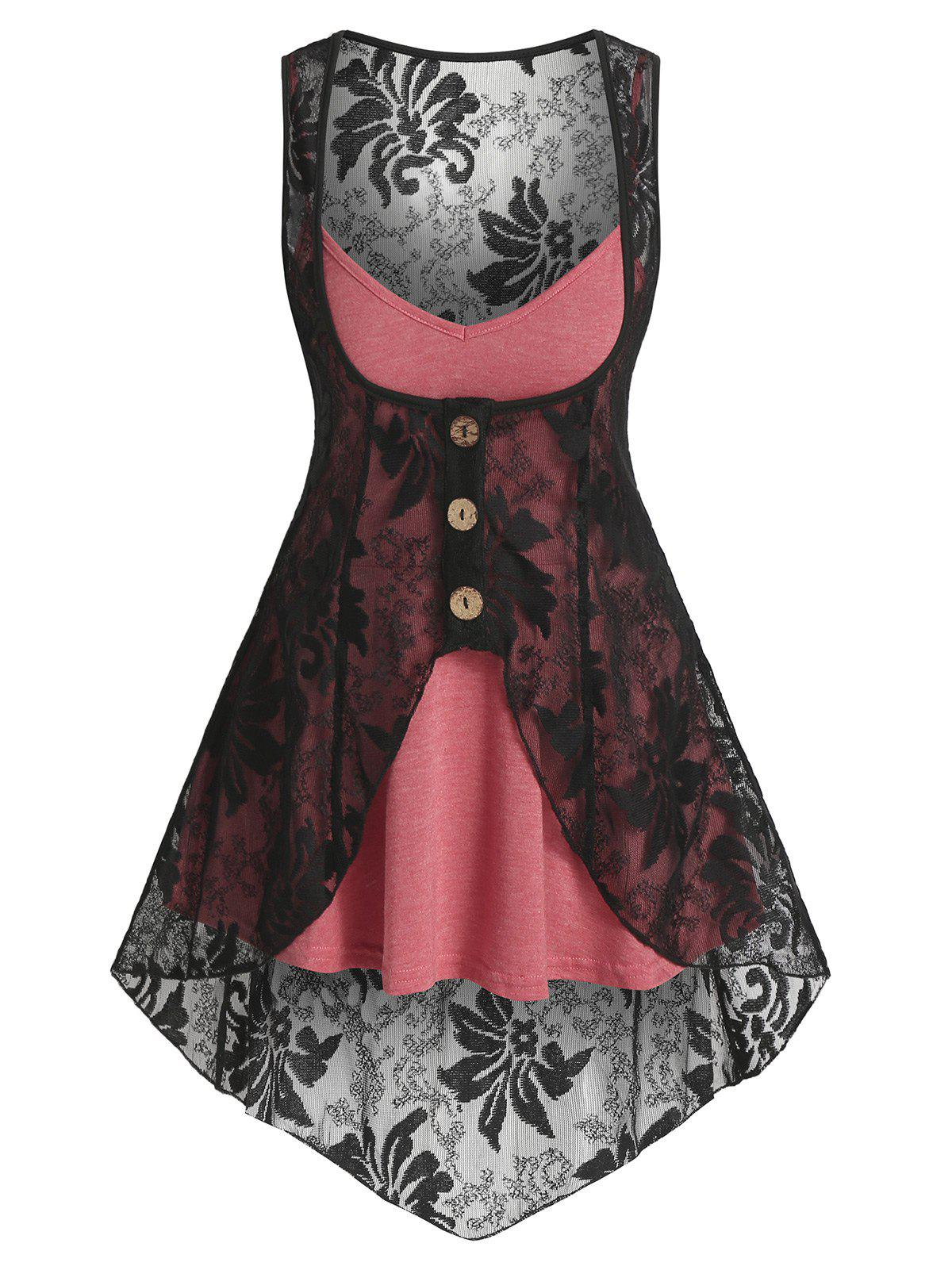 Heathered Flare Cami Top and Flower Lace Vest - CHERRY RED XL