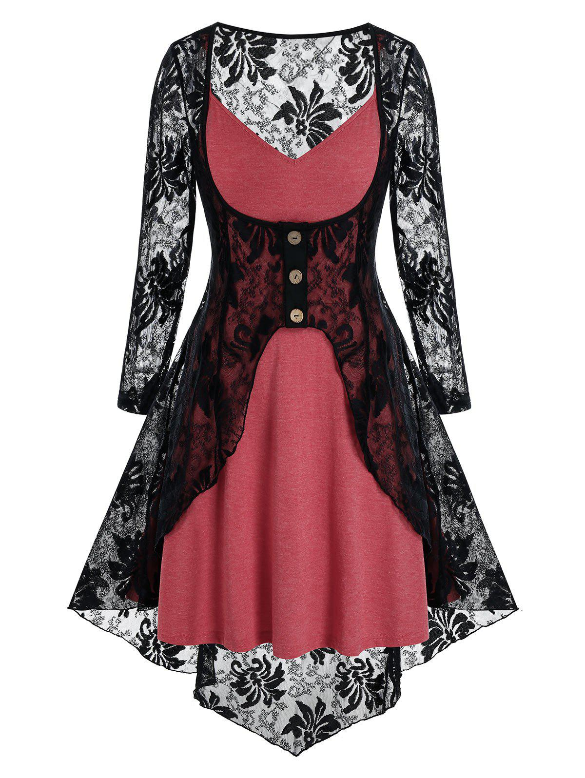 Plus Size Lace Asymmetric Blouse and Tank Top Set - VALENTINE RED 2X