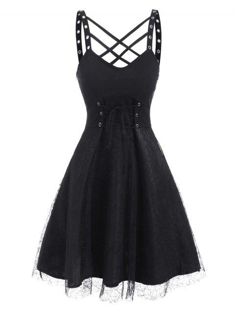 Lattice Grommets Lace-up Mesh Overlay Dress