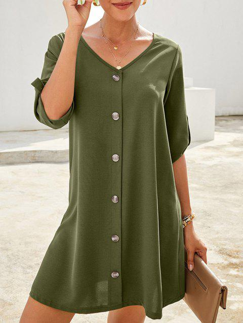 Roll Tab Sleeve Mock Button Tunic Dress