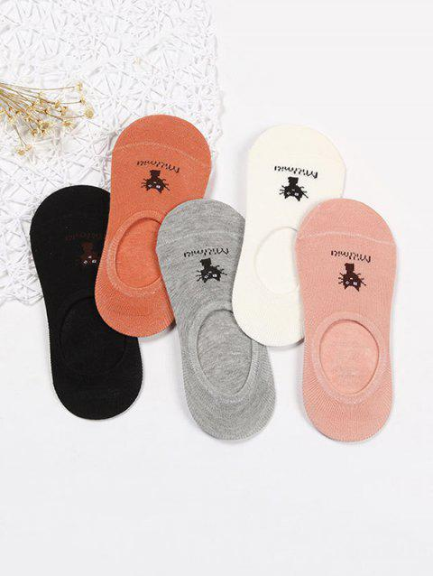 5Pairs Cartoon Cat Cotton Silicone Invisible Socks Set