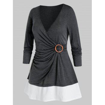 Plus Size Ruched Surplice Bicolor Long Sleeve Tee