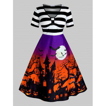 Plus Size Vintage Halloween Printed Pin Up Dress