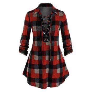 Plus Size Plaid Lace-up Roll Up Sleeve Knit Top