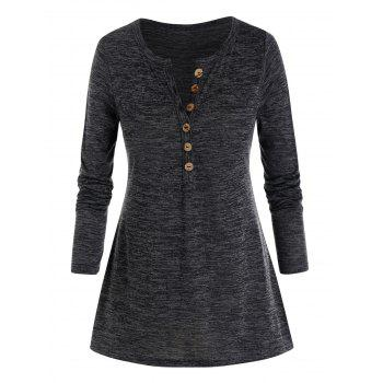 Plus Size Marled Buttoned Long Sleeve V Notch Tee