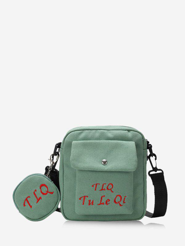 Letter Embroidery Canvas Coin Purse And Crossbody Bag Set - LIGHT GREEN