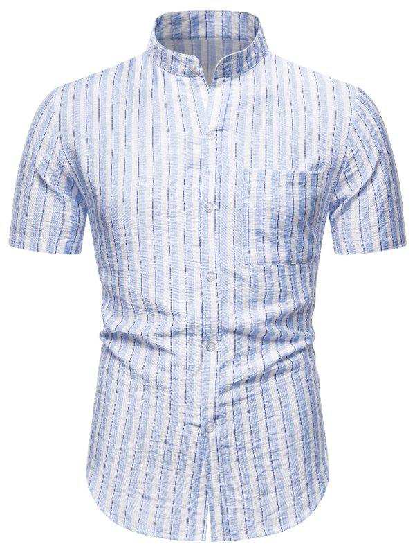 Striped Pocket Button Up Short Sleeve Shirt - WHITE M