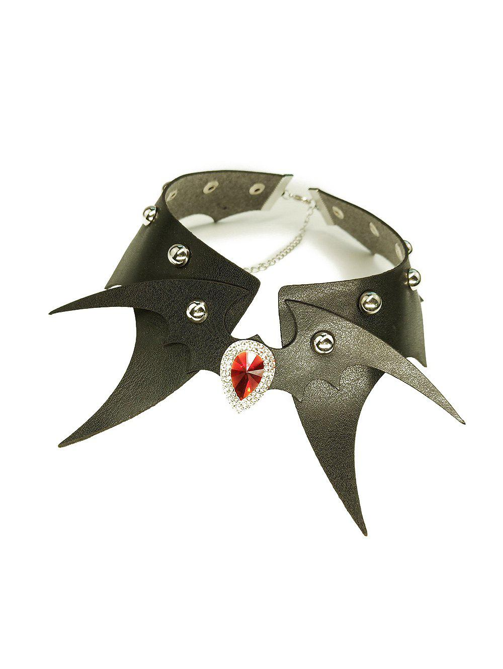 Halloween PU Bat Rivet Choker Necklace - BLACK EEL