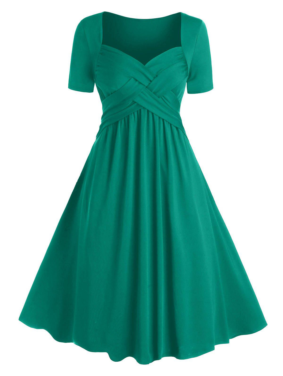 Plus Size Crossover Fit and Flare Dress - MEDIUM TURQUOISE 2X