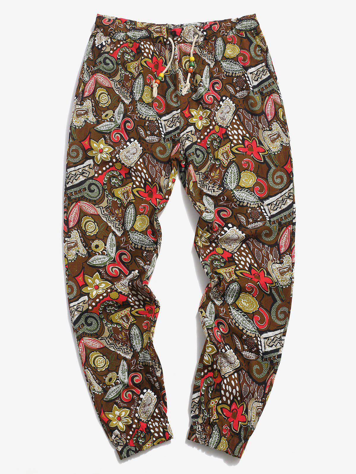 Allover Floral Print Linen Casual Pants - COFFEE 2XL