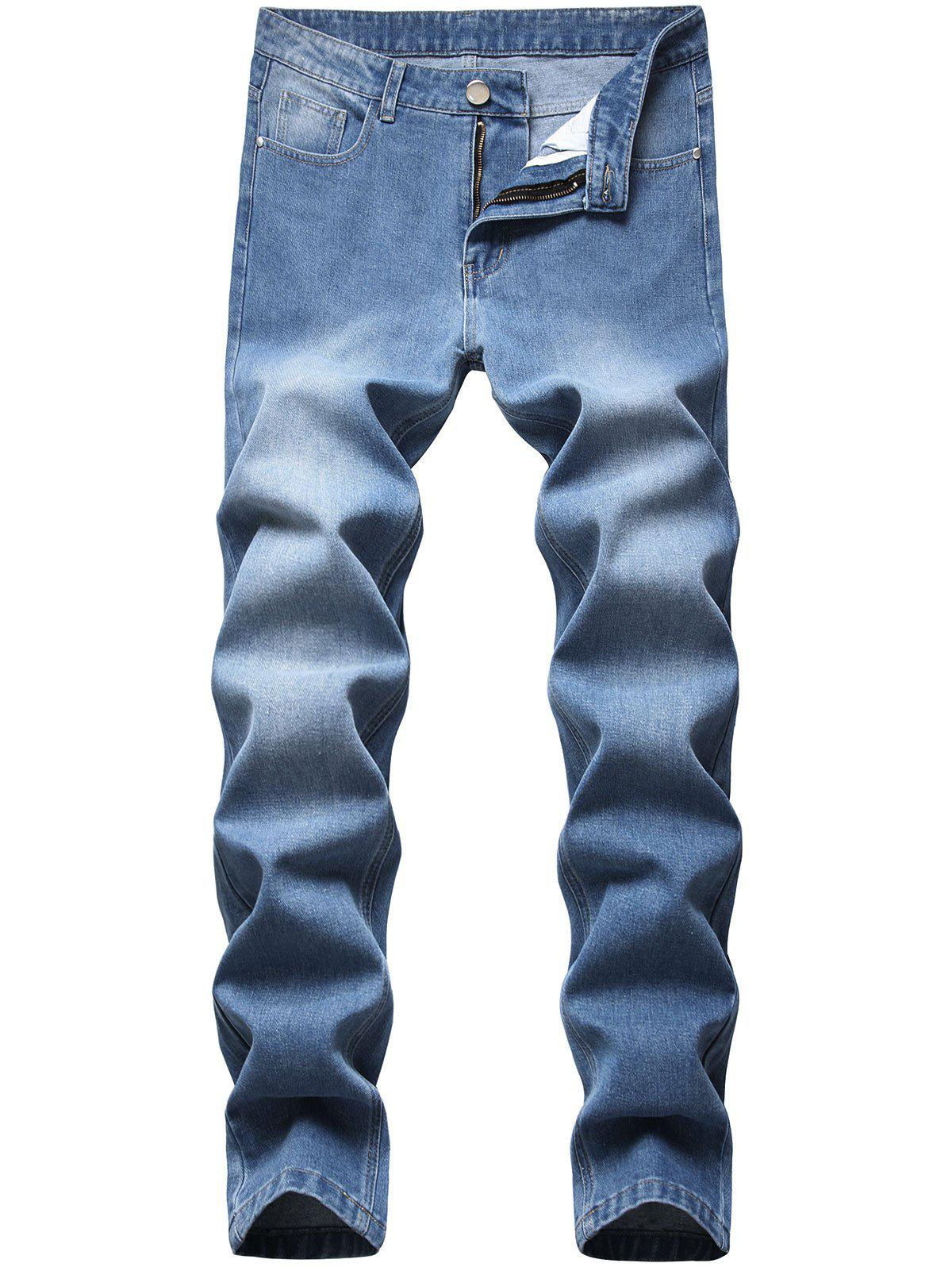 Medium Wash Zipper Fly Tapered Jeans - LIGHT BLUE 38