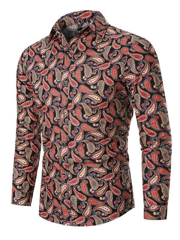 Allover Paisley Print Vintage Button Up Shirt - BLACK 3XL