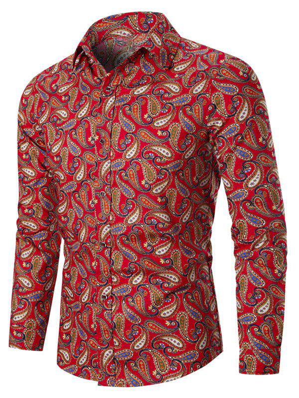 Allover Paisley Print Vintage Button Up Shirt - RED 3XL