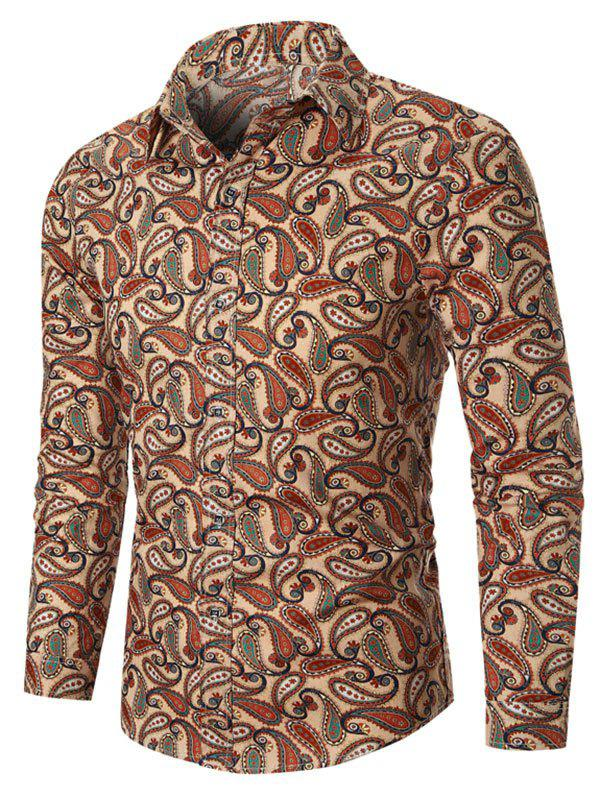 Allover Paisley Print Vintage Button Up Shirt - BEIGE 3XL