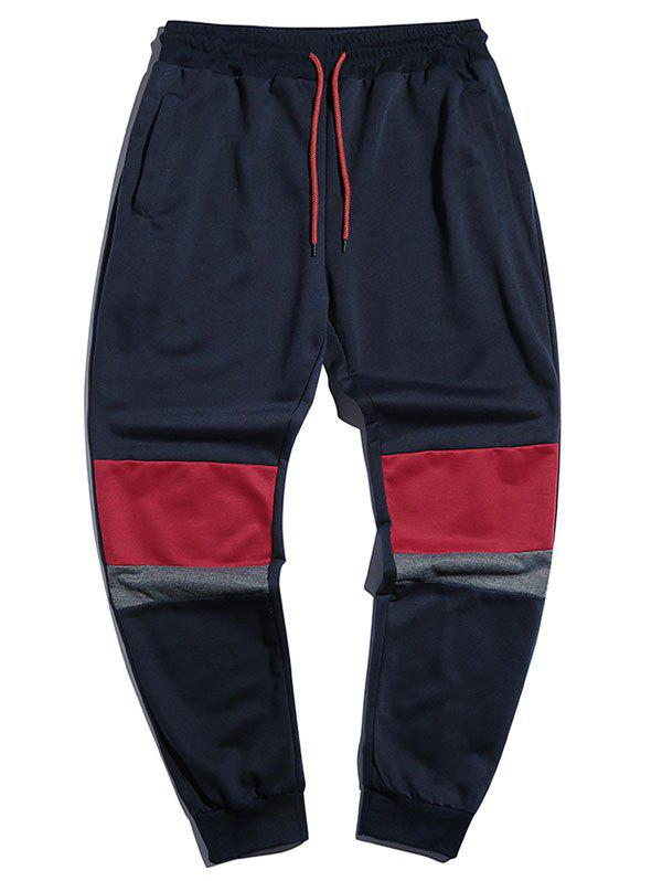 Drawstring Contrast Tapered Jogger Sweatpants - CADETBLUE XL