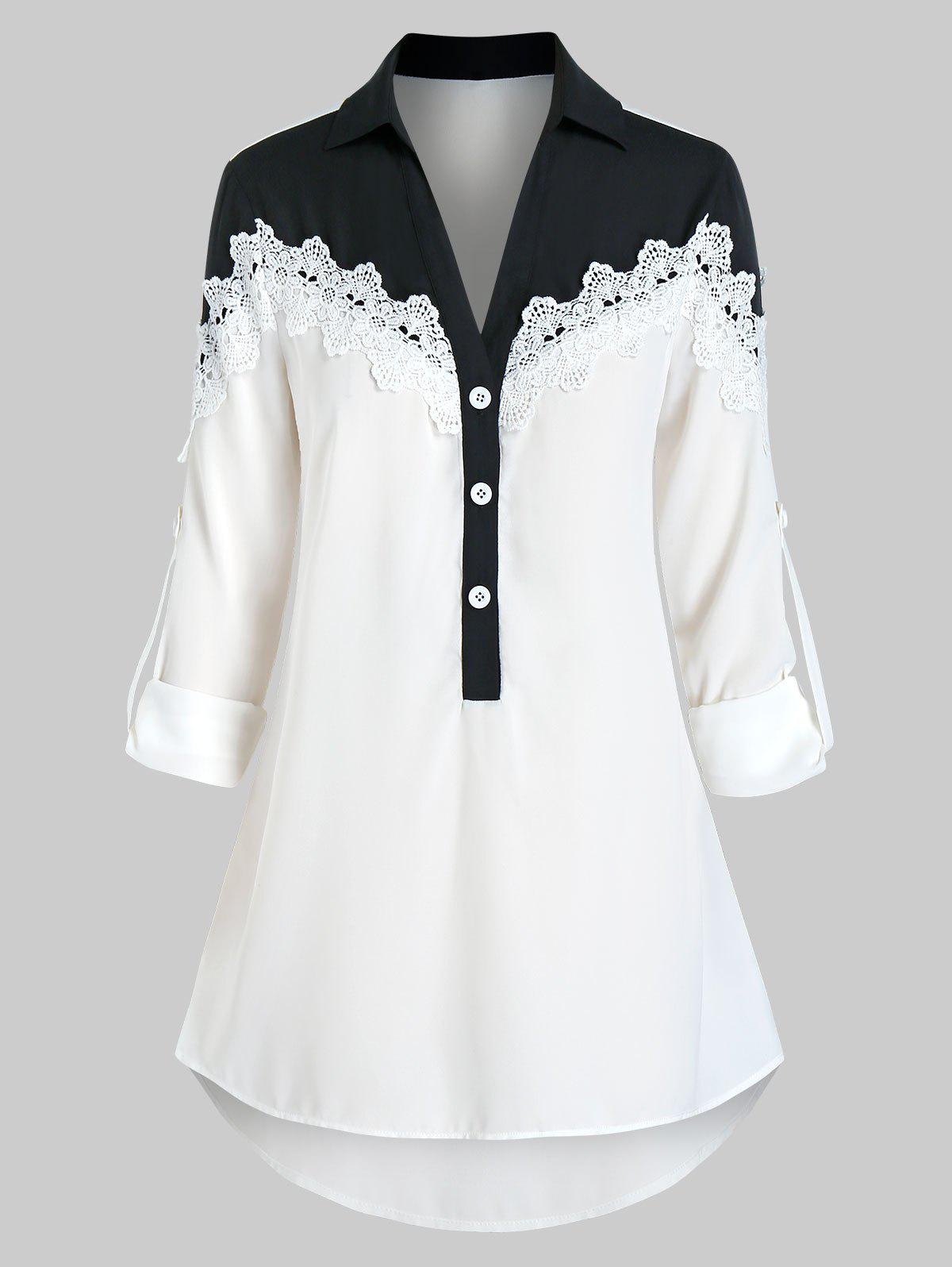 Plus Size Two Tone Roll Up Sleeve Blouse - WHITE 5X