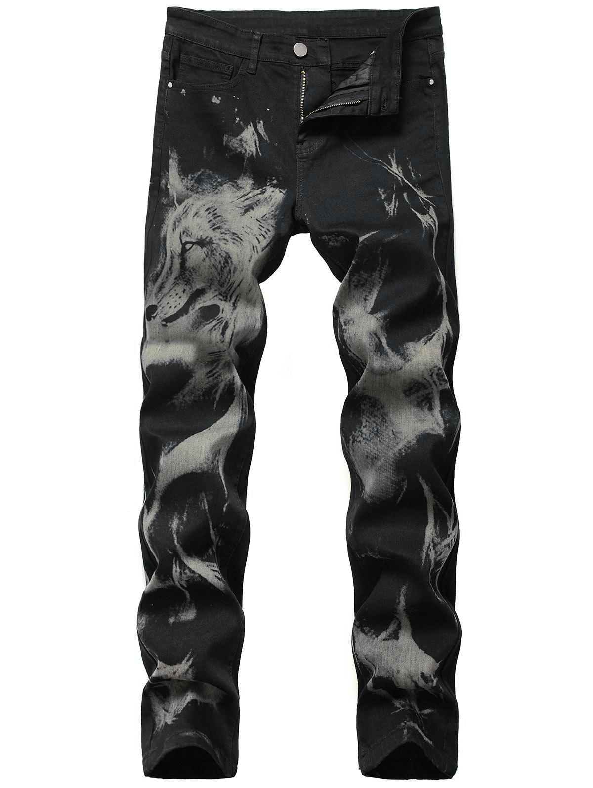 Animal Print Zipper Fly Tapered Jeans - BLACK 36