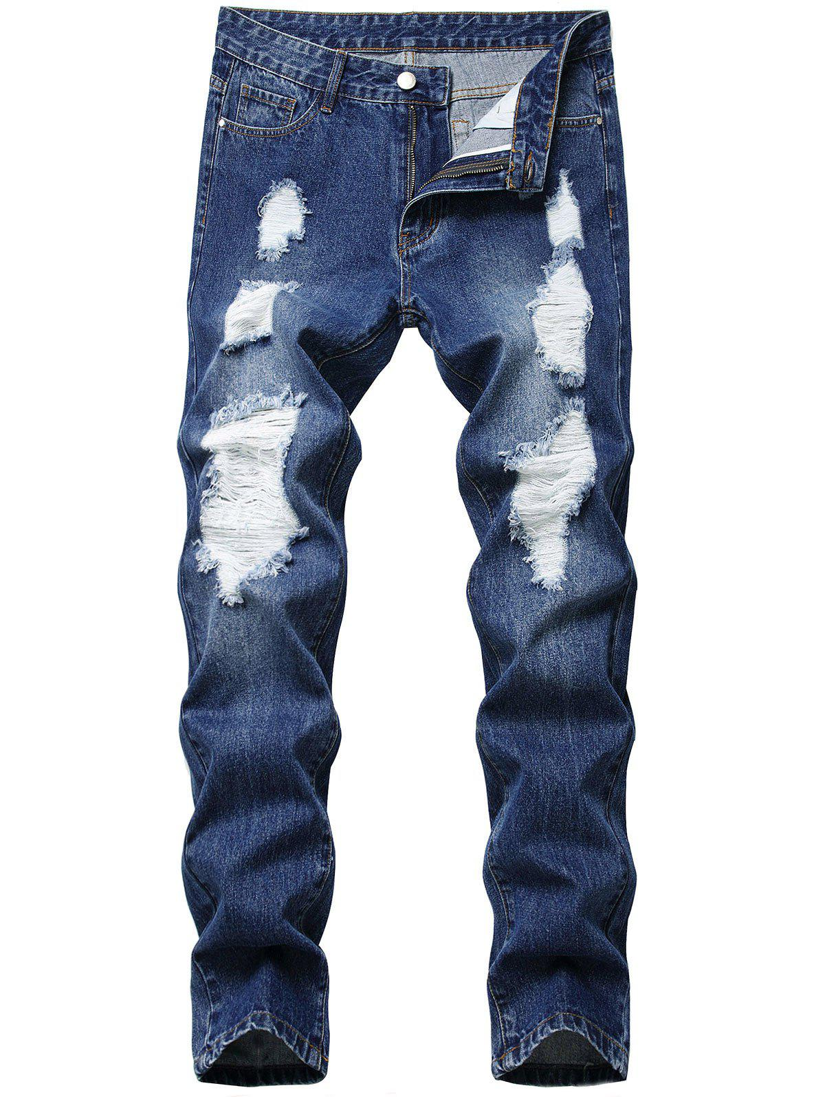 Straight Leg Distressed Zipper Fly Jeans - BLUE 38