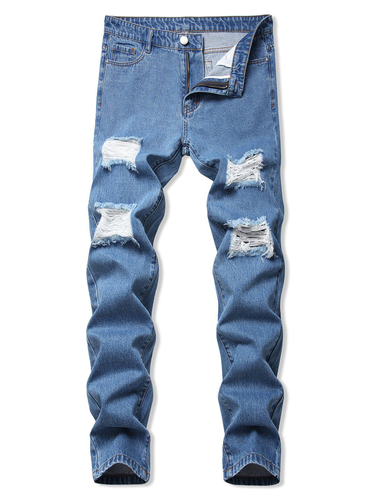 Zipper Fly Ladder Distressed Jeans - BLUE 32