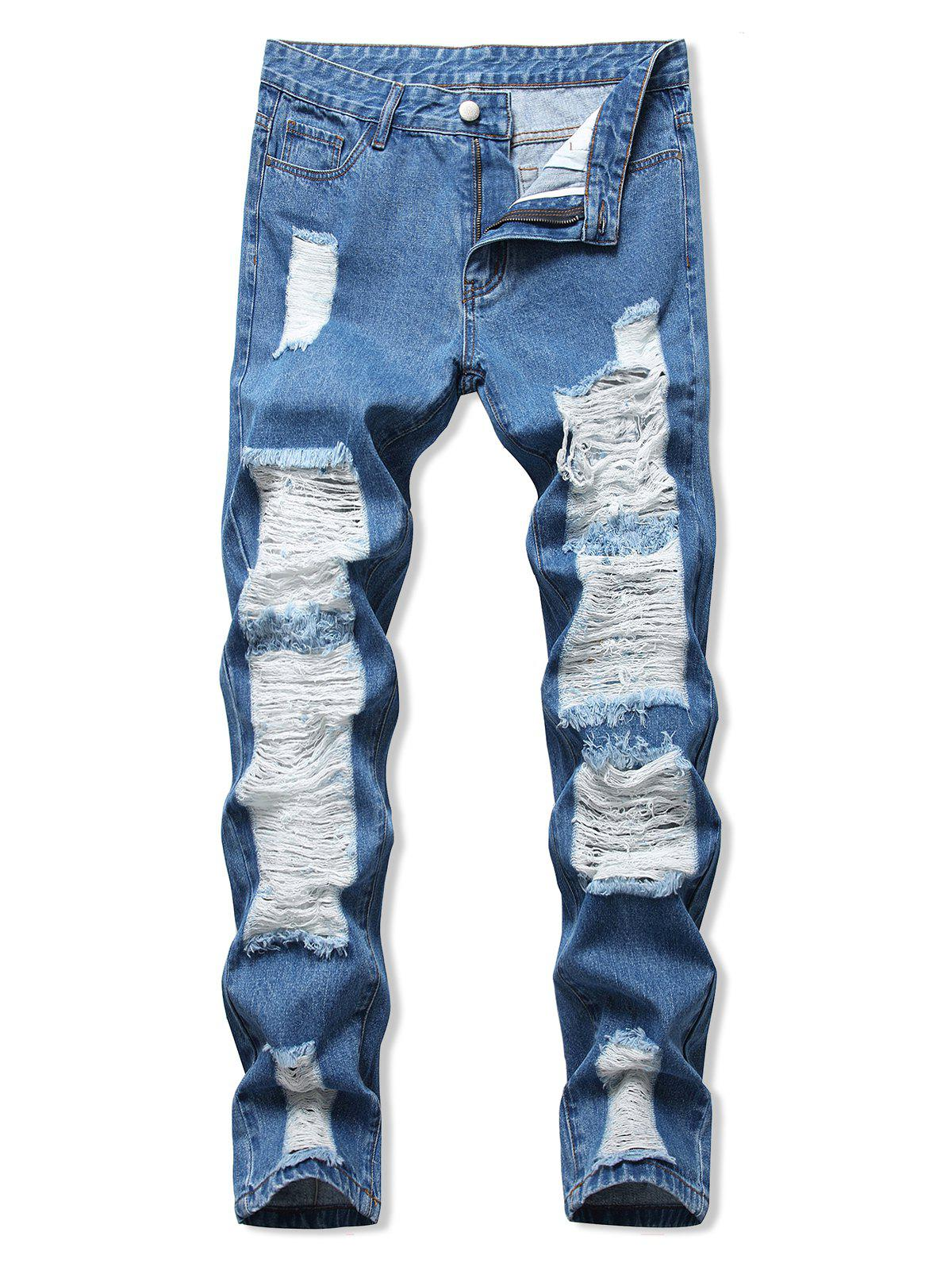 Ladder Distressed Zipper Fly Straight Leg Jeans - BLUE 40