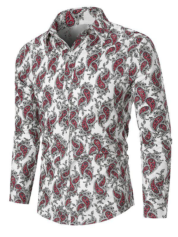 Ditsy Paisley Print Button Up Long Sleeve Shirt - WHITE 3XL